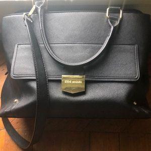 Steve Madden large black leather briefcase bag